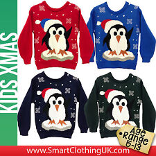 NEW Boys Girls Christmas Jumper Penguin Xmas Sweater Knitted Age 5 6 7 8 9 10 13