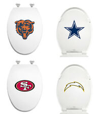 FC344 NFL LOGO TEAM THEME WHITE ELONGATED MOLDED WOOD OVAL TOILET SEAT COVER LID