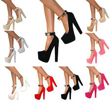 WOMENS ANKLE STRAP CUFF PLATFORM BLOCK CHUNKY HIGH HEELS COURT SHOES ZIP SIZE