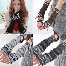 New Fashion Arm Hand Warmer Mitten Long Fingerless Snowflake Winter Gloves