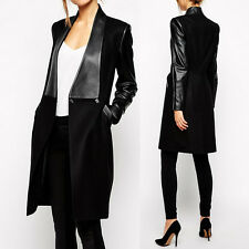 New Fashion Women's PU Leather Sleeve Wool Trench Long Jacket Coat Parka Outwear