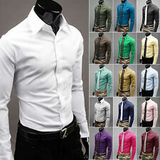 Men Luxury Stylish Business Casual Dress Slim Fit T-Shirts Casual Long Sleeve NW