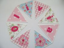 CATH KIDSTON Floral FABRIC PERSONALISED Pink BUNTING BANNER £2.50/lettered flag