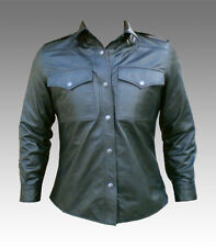 Mens Black Leather Full Sleeve Shirt LLL-325 Brand New Small TO 4xl