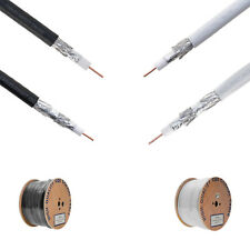 1000FT RG6 Coaxial Cable Wire Dual Shield 18AWG White Black Coax Satellite TV