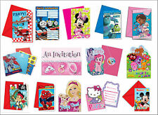 Birthday Party Invitation Cards Invites With Envelopes - Many Designs Available