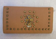 New Women's Lamba Leather Tri-Fold Wallet Cross w/Crystals & Checkbook Cover