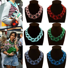 New Fashion Womens Acrylic Collar Chunky Choker Statement Chain Necklace Pendant