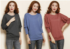 WomenS Lady Crewneck Loose Tops Blouse Batwing Casual Solid Dolman T-Shirt Tee