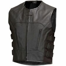 Men Leather Motorcycle Biker Vest Bullet Proof Style Black by Xtreemgear V107