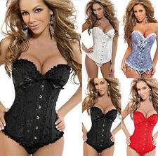 Top Quality Lady Sexy Boned Bustier Corset Dress Basques &G-string Outfit S-6XL