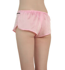 PINK SEXY SILK PANTIES MINI THONG MICRO SHORTS PJ PJS BOTTOMS PAJAMAS SLEEPWEAR