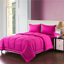 Tache 3 4 Piece 100% Cotton Solid Bright Hot Pink Box Stitched Comforter Set