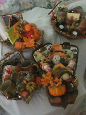 FALL GIFT BASKET MUGS, CANDLES,NAPKIN,TOWEL,DISH OR POT MIT OR S&P FREE SHIPPING