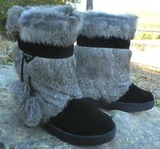 NEW BEARPAW TAMA II EXOTIC Rabbit FUR Winter Sheepskin Mukluk Boots Black NIB