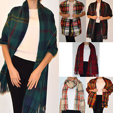 WOMENS TARTAN MULTICOLOR  CHECKED REVERSE PLAID SCARVES GREAT QUALITY GOOD PRICE