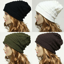 New Vintage Unisex Beanie Fashion Oversized Knit  Baggy Slouchy Hat Mens Women's