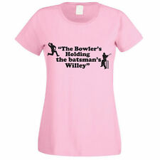THE BOWLER IS HOLDING THE BATMAN'S WILLEY -Funny / Cricket Themed Womens T-Shirt