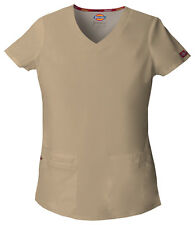 Dickies Scrubs EDS Women's Scrub Top 85906 Khaki KHIZ Dickies Jr. Fit