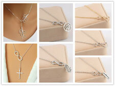 Fashion Women Infinity Silver Gold Plated Pendant Charm Chain Necklace