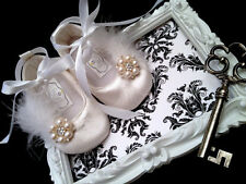 White satin and pearl Baby Christening Shoes & Headband Set, baptism