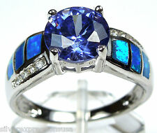 Tanzanite & Blue Fire Opal Inlay Solid 925 Sterling Silver Ring sz 5,6,7,8,9,10