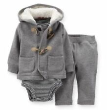 Carter's NB 3 6 9 12 18 Mos Cardigan Hoodie toggle Bodysuit Set Baby Boy Clothes