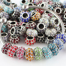 Wholesale Rhinestone Crystal Charms Big Hole Loose European Beads Fit Bracelets