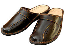 Mens Black Brown Genuine Leather Slippers Size 6 7 8 9 10 11 12