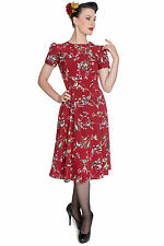 NEW HELL BUNNY CARMINE RED BIRDY 1950S 1940S RETRO VINTAGE PROM PARTY DRESS 8-16