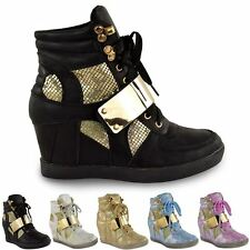 WOMENS LADIES WEDGE CONCEALED HEEL HI TOPS PLATFORM TRAINERS ANKLE BOOTS SHOES