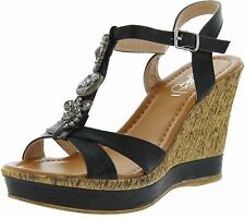 Refresh Womens Jean-01 Beaded Ankle Strap T-Strap Cork Wedge Sandals