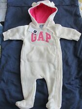 NWT GAP BABY GIRL ONE PIECE ROMPER LOGO HOODIE WARM 0 3 6 9 MONTHS FLEECE FOOTED