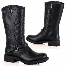 D1Y Womens Flat Quilted Panels Biker Ankle Boots Casual Trendy Ladies Shoes Size
