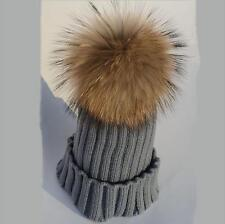 New women winter raccoon fur pom pom 15 18cm ball knit beanie ski cap bobble hat