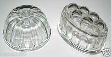 Victorian Pressed Clear Glass Round OR Oval 1 Pint Jelly / Blancmange Mould