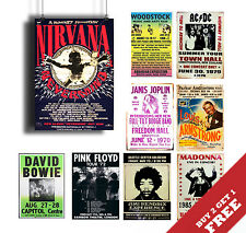 A3 60s 70s 80s 90s MULTI CONCERT POSTERS Rock Jazz Metal Pop Music Icons Vintage
