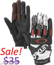 Oakley Men Factory Lite Mountain BMX Bike Cycling Full Finger Black Red Gloves