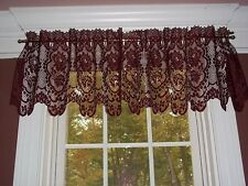 Cameo Rose Cafe  Style  Lace  Valance in Ivory or Burgundy