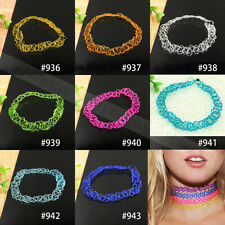 1X Vintage Stretch Tattoo Choker Necklace Double Layer Retro Gothic Punk Elastic