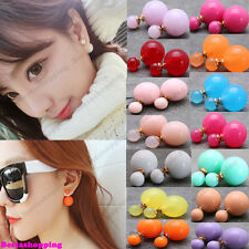 Wholesale Price Candy Color Double Sides Simulated Pearl Crystal Stud Earrings