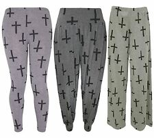 New Ladies Full Length Black Cross Graphic Tattoo Detail Trousers Pants 8-26