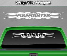Design #113 FIREFIGHTER Tribal Flame Windshield Decal Window Sticker Graphic SUV