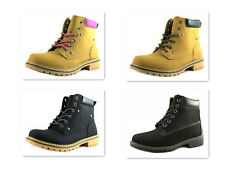 Townforst Womens New Fashion Padded Ankle Collar Short Boots Lace Up Work Boot