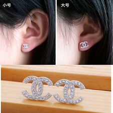 New Fashion Jewelry Womens 925 Sterling Silver Crystal Stud Earrings Nice Gift