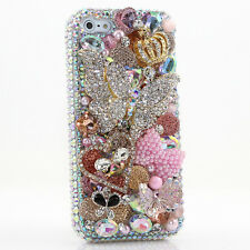 iPhone 6 6S / 6S Plus 5S Bling Crystals Case Cover AB Pink Butterfly