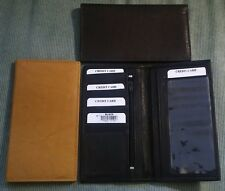 NEW Men's Women's TOP GRAIN GENUINE LEATHER Tan Brown Checkbook Cover ID WALLET