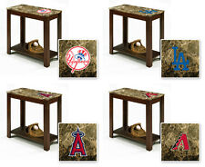 FC691 MLB TEAM THEME CAPPUCCINO ESPRESSO WOOD FAUX MARBLE END TABLE NIGHT STAND
