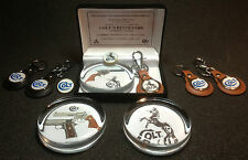 COLT GUN/FIREARMS COLLECTOR SETS: GLASS PAPERWEIGHTS, LEATHER KEY RINGS & BADGES