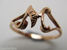 KAEDESIGNS, GENUINE, SOLID YELLOW OR ROSE OR WHITE GOLD 375 INITIAL RING M